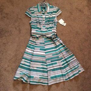 NWT Nine West Vintage Style Striped Belted Dress